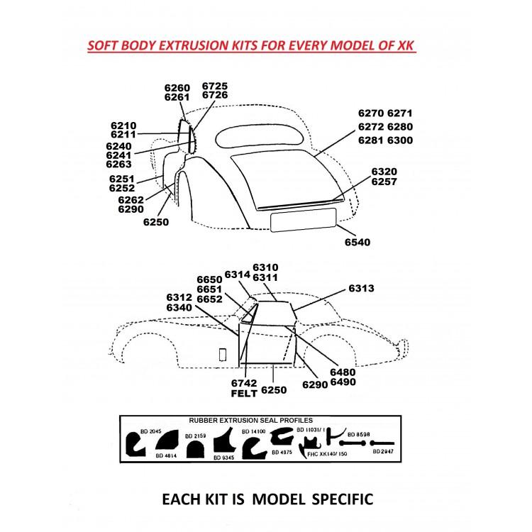 Superior Extruded Rubber Seals Kit for Jaguar XK150 DHC (6848) on