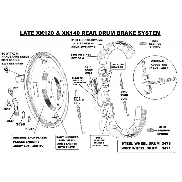 front drum brake cylinder late xk120    xk140 self adjuster