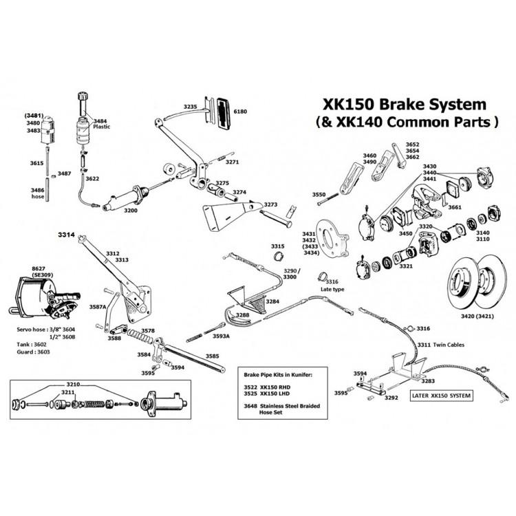 jaguar xk120  xk140  xk150  handbrake adjuster assembly