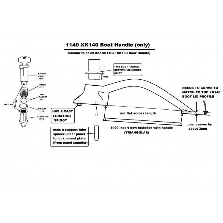 Xk150 Amp Xk140 Door Boot Handle Pushbutton Spring Hex