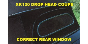 Correct Solid XK120 Drop Head Coupe  Rear Window &  Surround for Hood