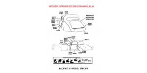 6841 Superior Extruded Body Seals Kit for XK120 OTS  / Roadster