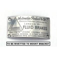"9315 ** NEW ITEM**  Early XK120 Lockheed Reservoir Mount ""Fluid Brakes"" Bracket Plate, Decal, Badge"